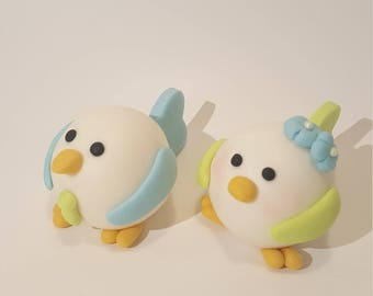 Fondant Elegant Chicks Cake Toper.  Couple of Love Birds Fondant Cake Topper.