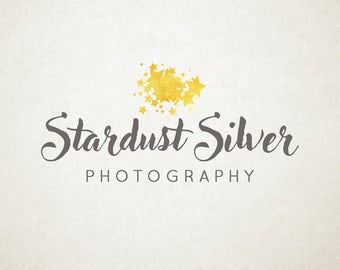Premade Logo, gold foil stars, for photographers or small business