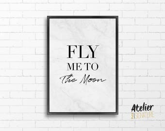 Poster / Poster - Fly Me To The Moon - Format A4, A5 / 300gr