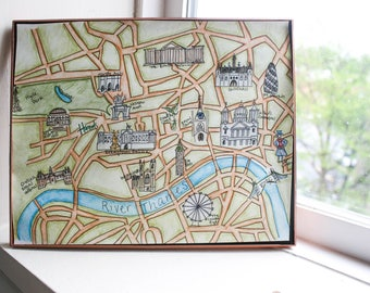 Framed Hand-Drawn London Attractions Map