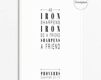 As Iron sharpens Iron Print / Bible Verse Print / Scripture Verse / Proverbs 27:17 / Typography / Minimalist / Inspirational quote / A4 8x10