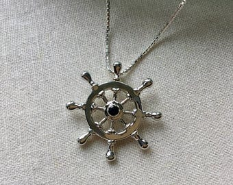 Sterling Silver Ship's Wheel with Garnet Necklace