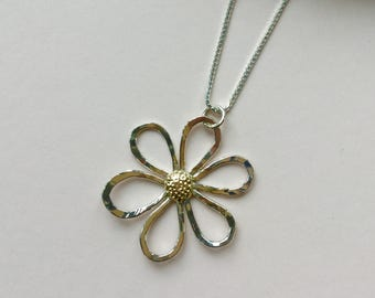 14kt and Sterling Silver Daisy Necklace