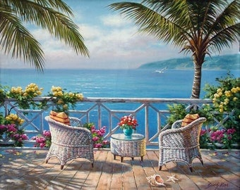 "Two By The Sea - Traditional Oil Painting Landscape Seascape 30"" x 24"" by Sung Kim"