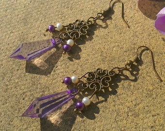 Gothic bronze plated purple teardrop faux pearl  earrings