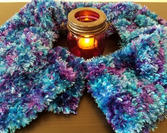Hand Knitted Blue/Teal/Purple Boa Scarf