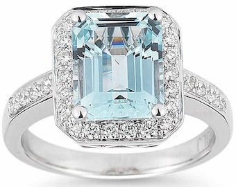 Emerald Cut Aquamarine and Diamond Ring 14kt White Gold