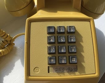 vintage western electric 2500 yellow touch tone telephone