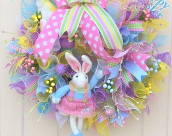 Easter Wreath, Bunny Wreath, Deco Mesh, Hello, pink yellow blue, Wired ribbons, Front door wreath, Inside Wreath