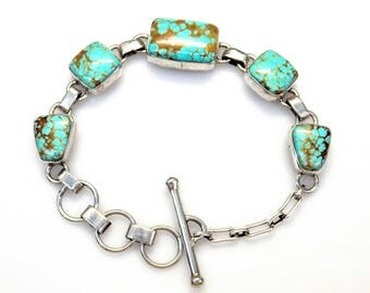 Sterling Silver Cabochon Shape Turquoise Bracelet