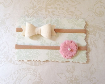 Organic Baby Girl Felt Bow and Flower Headband Set- White and Pink