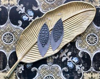 Leather Feather Earrings, Layered Feather Earrings, Dangle Earrings
