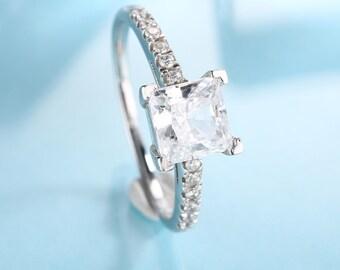 Princess Cut Engagement Ring women 14k gold Moissanite Forever Brilliant one diamond vintage Wedding Half Eternity unique gift for her