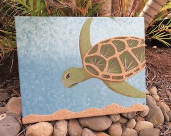 Sea Turtle - Multimedia Acrylic Painting