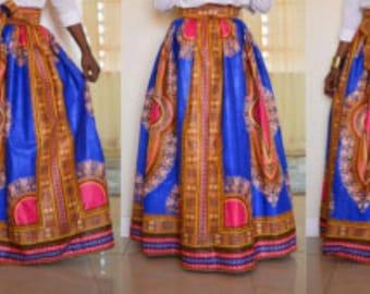 Dashiki Maxi Skirt, Dashiki Skirt, Angelina skirt, African Print Skirt, High Waist skirt, Dashiki clothing