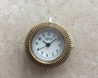 Round Bali-style gold watch face for beading, jewelry making
