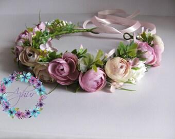 Summer outdoors Flower crown Headband Pink greenery hair wreath Wedding wreath Wreath with peonies Wedding hair accessories Wreaths