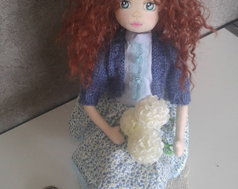 Handmade,ClothDoll,DecorativeDoll,Girl toys,FabricDoll,Child Room,Blue dress,hand-knitted sweaterYous