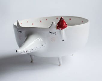 Peter the Wolf with Little Red Riding Hood - ceramic bowl, planter