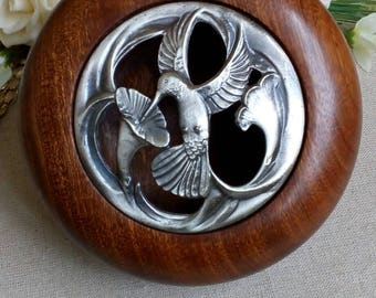 Wooden potpourri bowl with pewter lid hand crafted, handmade, special gift, hummingbird,