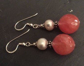 Quartz, Cherry Quartz 13mm faceted Earrings