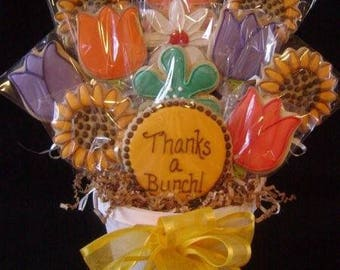 Thanks A Bunch cookie bouquet | Custom decorated cookie gift | Cookie basket arrangement | Thanks | Appreciation