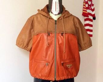 Sale! From 90 to 70 euros! Prada jacket Orange/nocciola two-tone leather 90 vintage size M