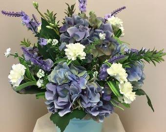 Blue Artificial Flower Arrangement, Flower Arrangement, Blue and White Artificial Flower Arrangement