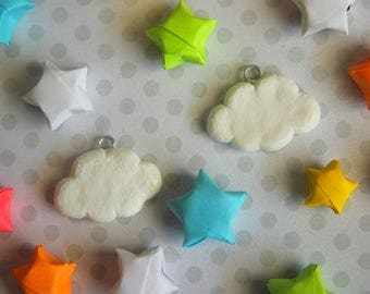 Cloud Sky White Fluffy Handmade Clay Necklace Charm Pendant