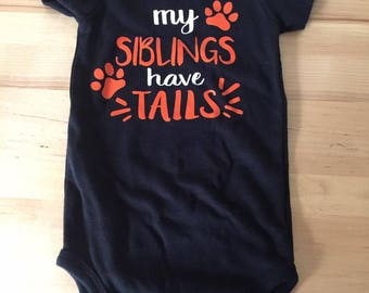 Boy, My siblings have tails onesie,bodysuit