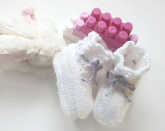 White baby boots booties mauve lace handknitted for girl