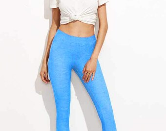 Leggings Printed - Light Wash Denim Look Leggings - Sizes:Small, Medium, Large, 1X, 2X, 3X