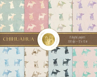 Chihuahua digital paper, chihuahua printable,pastel digital paper, instant download,scrapbook paper,patterns,digital paper, pastel printable