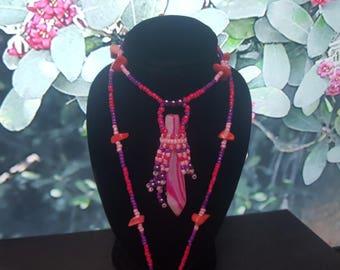 Rose Banded Agate necklace 33cm