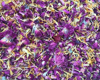 Spoiled Rich | Red/Purple and Yellow | Real Petal Wedding Confetti | Biodegradable and 100% Natural | Wedding Throwing Confetti