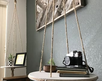 Hanging macrame braided rope shelves