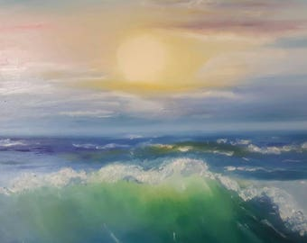 Original sea painting, acrylic on canvas, sea painting, sunset painting, small painting, original canvas art, landscape painting, wall deco