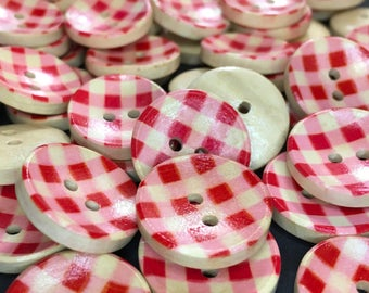 6 Red Gingham Wooden Buttons, Plaid