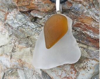 Brown and White Genuine Sea Glass Pendant