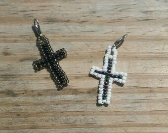 Set of 2 - His and Hers Seed Beaded Cross Charms