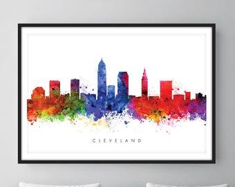Cleveland Skyline, Cleveland Ohio Cityscape Art Print, Wall Art, Watercolor, Watercolour Art Decor