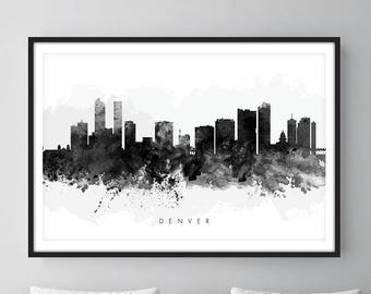 Denver Skyline, Denver Colorado Cityscape Art Print, Wall Art, Watercolor, Watercolour Art Decor