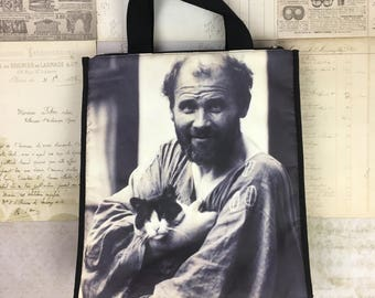 Gustav Klimt Bag Tote Photograph Cat Portrait New Plumeria Museum Black White Certificate Gift Purse Painter Artist