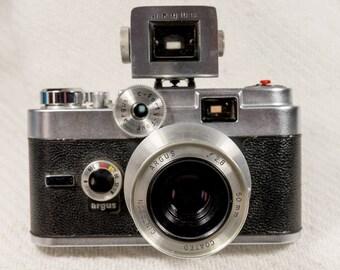"Argus C-44 Model ""R"" 35mm Vintage Camera and Argus Variable Power Viewfinder"