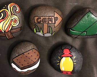 Set: Camping Theme Set Painted Rocks & Paperweights (Set of Five) @MoonRocksArt