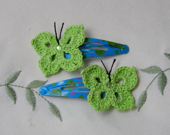 Butterfly Hair Clips - Crocheted, Hair Clips for Girls, Hair Pins