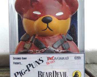 Bears in Cosplay - BearDevil Bear  Custom Money Box (Daredevil)