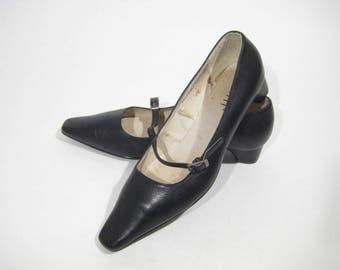 Leather BUGATTI Women's Fashion Vintage Shoes Black heel Strap Size 8,5us/6uk/40eu