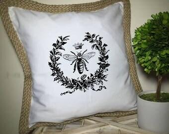 French Market White Canvas & Burlap Farmhouse Paris Queen Bee Royal Crown Pillow Cover