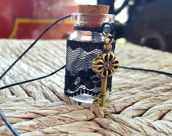 Black Lace Jar Necklace